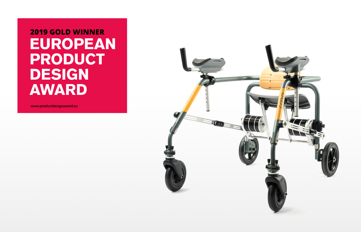 Award winning mobility walker with seat design